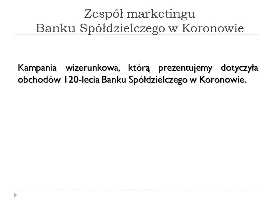 Zespół marketingu Banku Spółdzielczego w Koronowie Kampania wizerunkowa, którą prezentujemy dotyczyła obchodów 120-lecia Banku Spółdzielczego w Korono