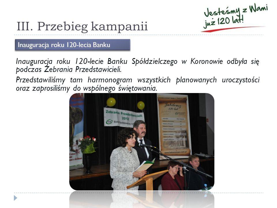 III. Przebieg kampanii Inauguracja roku 120-lecie Banku Spółdzielczego w Koronowie odbyła się podczas Zebrania Przedstawicieli. Przedstawiliśmy tam ha