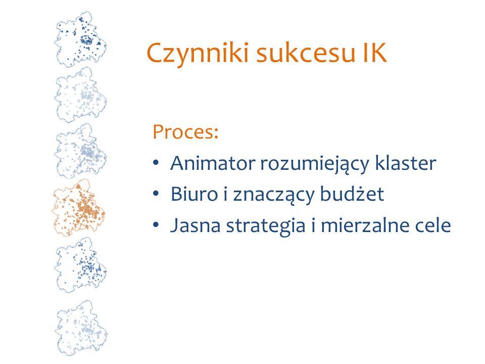 Czynniki sukcesu IK Proces: Animator rozumiejący klaster Biuro i znaczący budżet Jasna strategia i mierzalne cele
