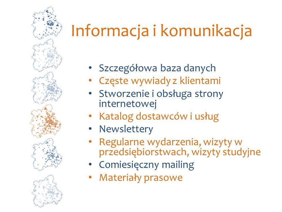 Informacja i komunikacja Szczegółowa baza danych Częste wywiady z klientami Stworzenie i obsługa strony internetowej Katalog dostawców i usług Newslet