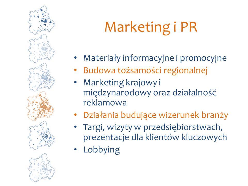 Marketing i PR Materiały informacyjne i promocyjne Budowa tożsamości regionalnej Marketing krajowy i międzynarodowy oraz działalność reklamowa Działan