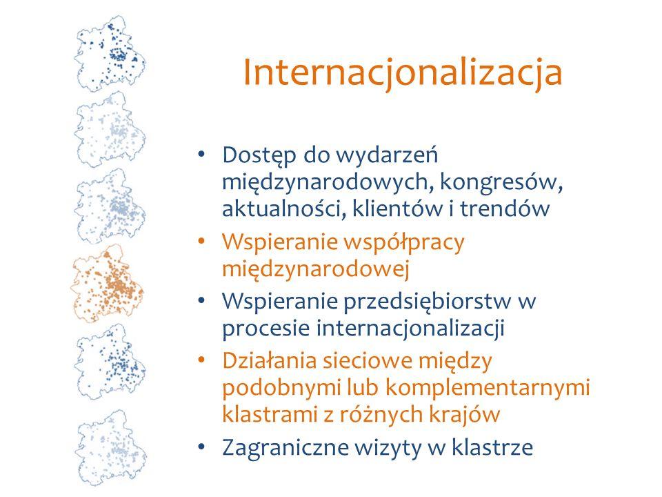 Internacjonalizacja Dostęp do wydarzeń międzynarodowych, kongresów, aktualności, klientów i trendów Wspieranie współpracy międzynarodowej Wspieranie p