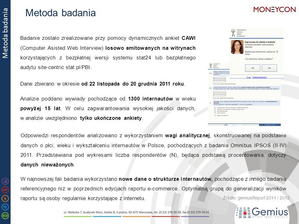 Metoda badania Badanie zostało zrealizowane przy pomocy dynamicznych ankiet CAWI (Computer Asisted Web Interview) losowo emitowanych na witrynach korzystających z bezpłatnej wersji systemu stat24 lub bezpłatnego audytu site-centric stat.pl/PBI.