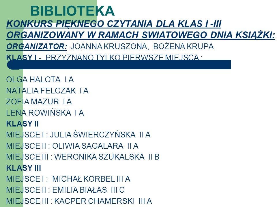 BIBLIOTEKA KONKURS PIĘKNEGO CZYTANIA DLA KLAS I -III ORGANIZOWANY W RAMACH SWIATOWEGO DNIA KSIĄŻKI: ORGANIZATOR: JOANNA KRUSZONA, BOŻENA KRUPA KLASY I