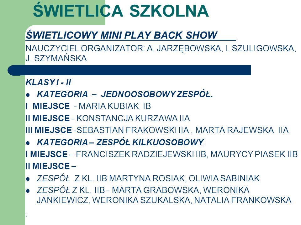 ŚWIETLICA SZKOLNA ŚWIETLICOWY MINI PLAY BACK SHOW NAUCZYCIEL ORGANIZATOR: A. JARZĘBOWSKA, I. SZULIGOWSKA, J. SZYMAŃSKA KLASY I - II KATEGORIA – JEDNOO