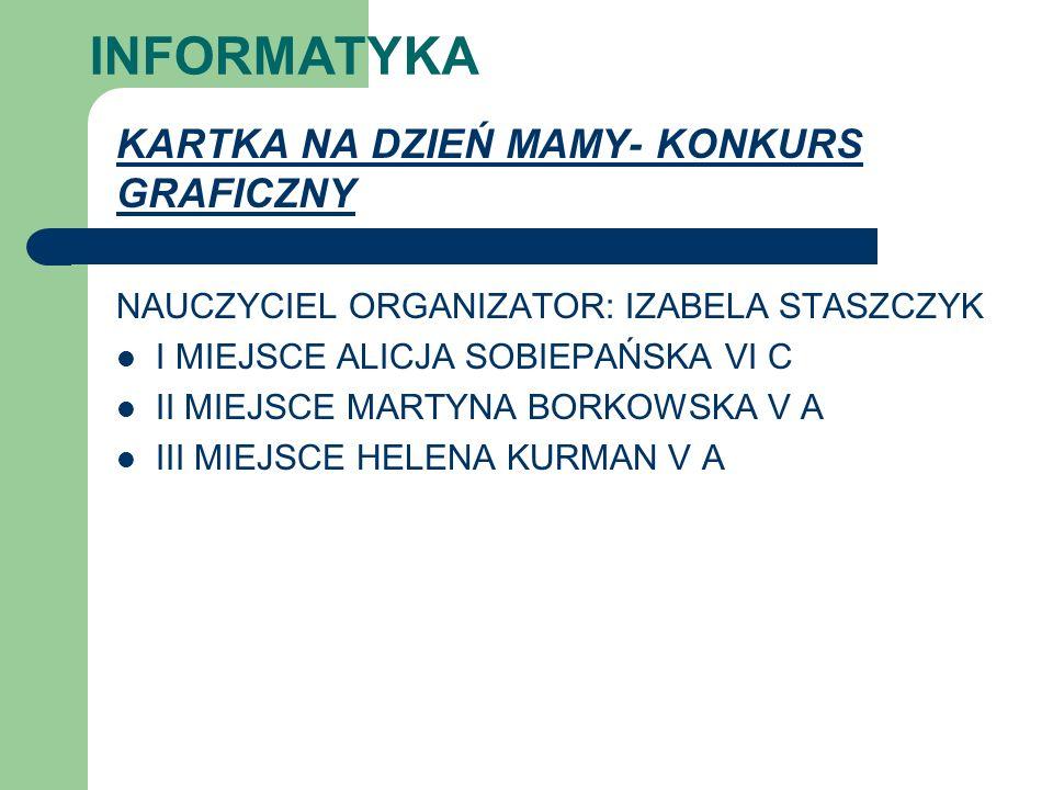 INFORMATYKA KARTKA NA DZIEŃ MAMY- KONKURS GRAFICZNY NAUCZYCIEL ORGANIZATOR: IZABELA STASZCZYK I MIEJSCE ALICJA SOBIEPAŃSKA VI C II MIEJSCE MARTYNA BOR