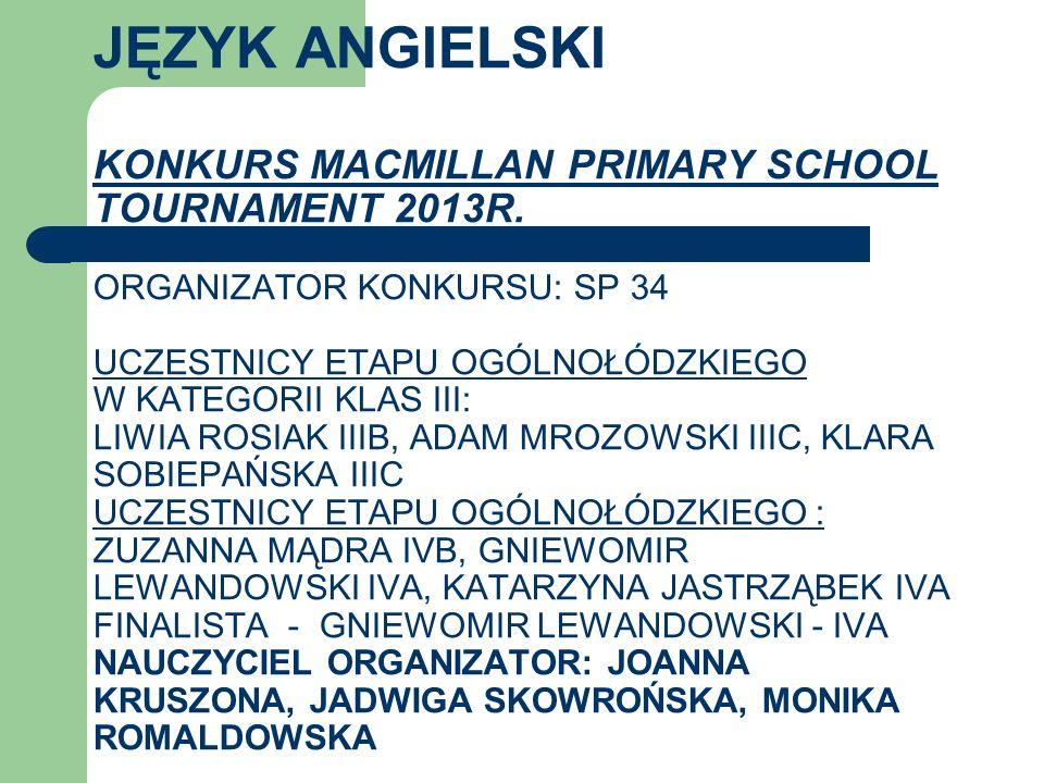 JĘZYK ANGIELSKI KONKURS MACMILLAN PRIMARY SCHOOL TOURNAMENT 2013R. ORGANIZATOR KONKURSU: SP 34 UCZESTNICY ETAPU OGÓLNOŁÓDZKIEGO W KATEGORII KLAS III: