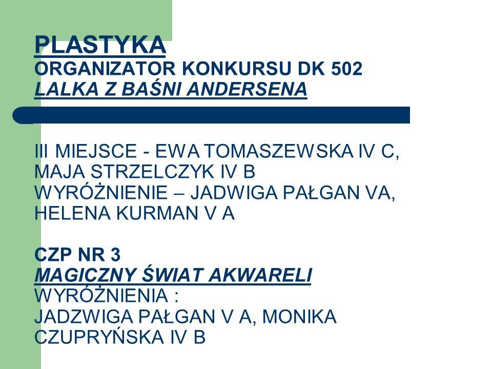 PLASTYKA ORGANIZATOR KONKURSU DK 502 LALKA Z BAŚNI ANDERSENA III MIEJSCE - EWA TOMASZEWSKA IV C, MAJA STRZELCZYK IV B WYRÓŻNIENIE – JADWIGA PAŁGAN VA,