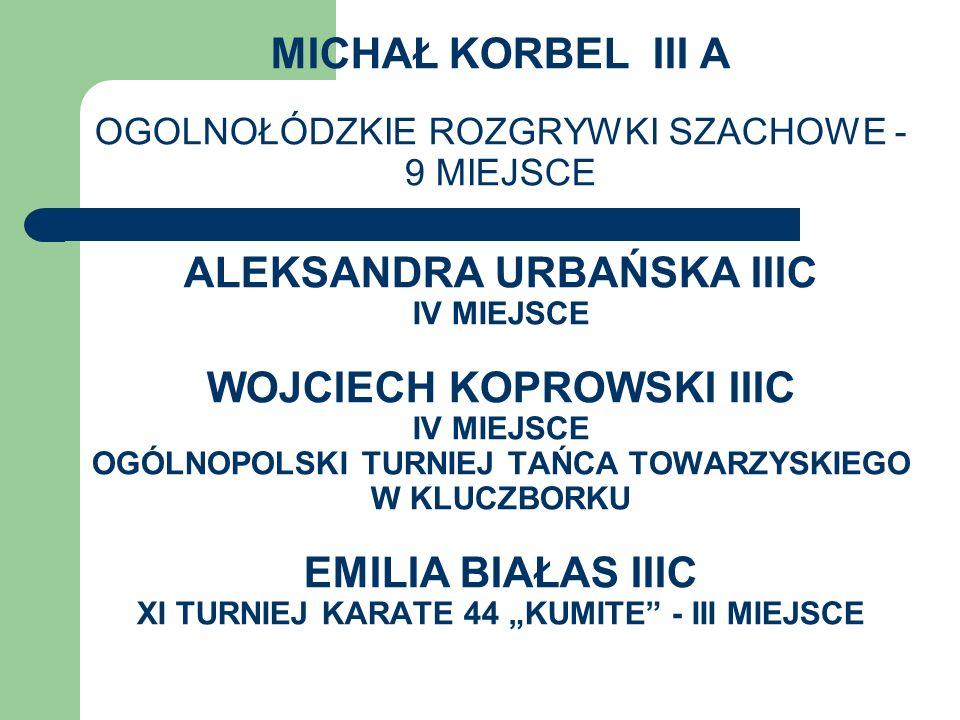 MICHAŁ KORBEL III A OGOLNOŁÓDZKIE ROZGRYWKI SZACHOWE - 9 MIEJSCE ALEKSANDRA URBAŃSKA IIIC IV MIEJSCE WOJCIECH KOPROWSKI IIIC IV MIEJSCE OGÓLNOPOLSKI T