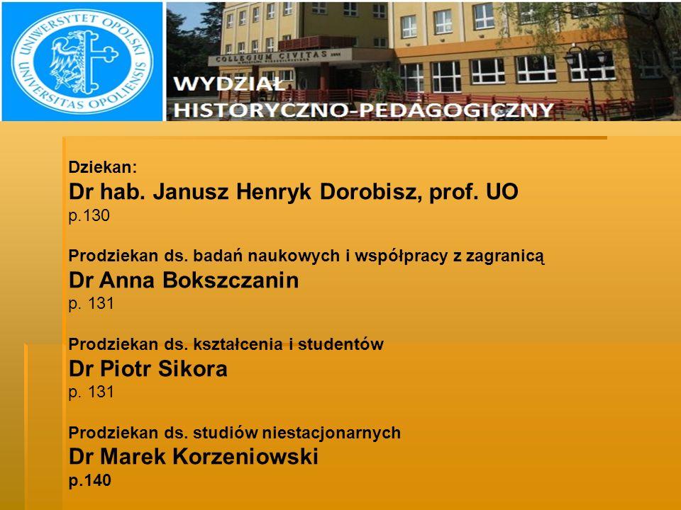 D ZIEKANI Dziekan: Dr hab. Janusz Henryk Dorobisz, prof. UO p.130 Prodziekan ds. badań naukowych i współpracy z zagranicą Dr Anna Bokszczanin p. 131 P