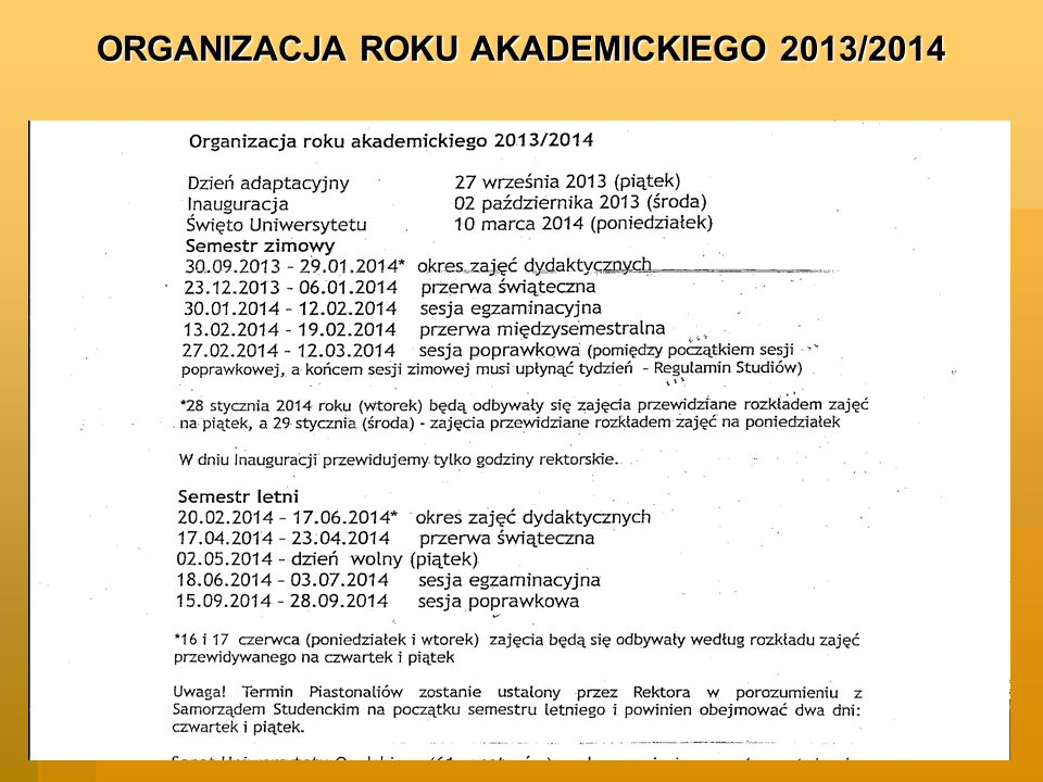 ORGANIZACJA ROKU AKADEMICKIEGO 2013/2014