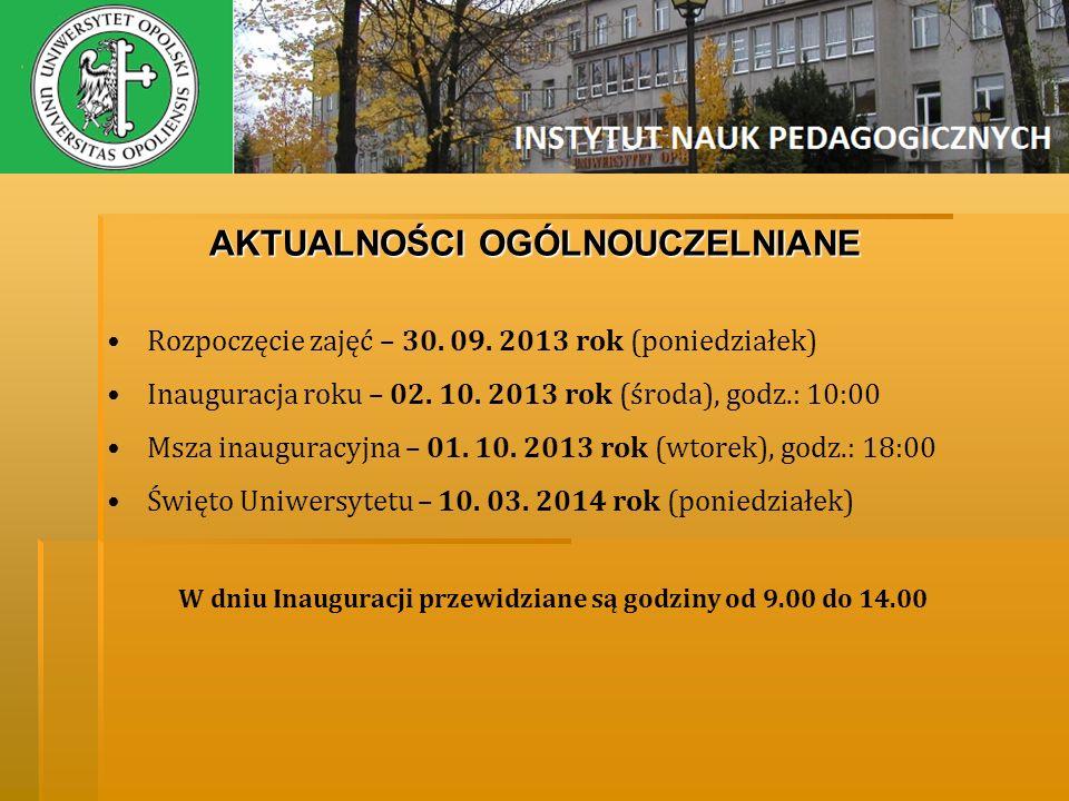 AKTUALNOŚCI OGÓLNOUCZELNIANE Rozpoczęcie zajęć – 30. 09. 2013 rok (poniedziałek) Inauguracja roku – 02. 10. 2013 rok (środa), godz.: 10:00 Msza inaugu
