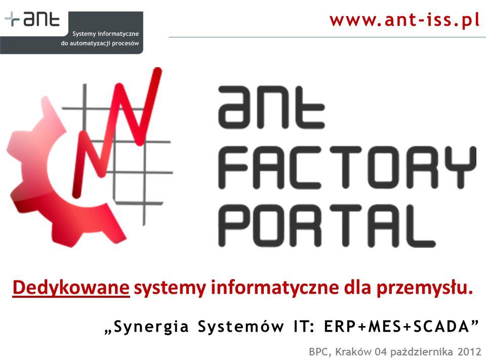 Dedykowane systemy informatyczne dla przemysłu. Synergia Systemów IT: ERP+MES+SCADA BPC, Kraków 04 października 2012 www.ant-iss.pl