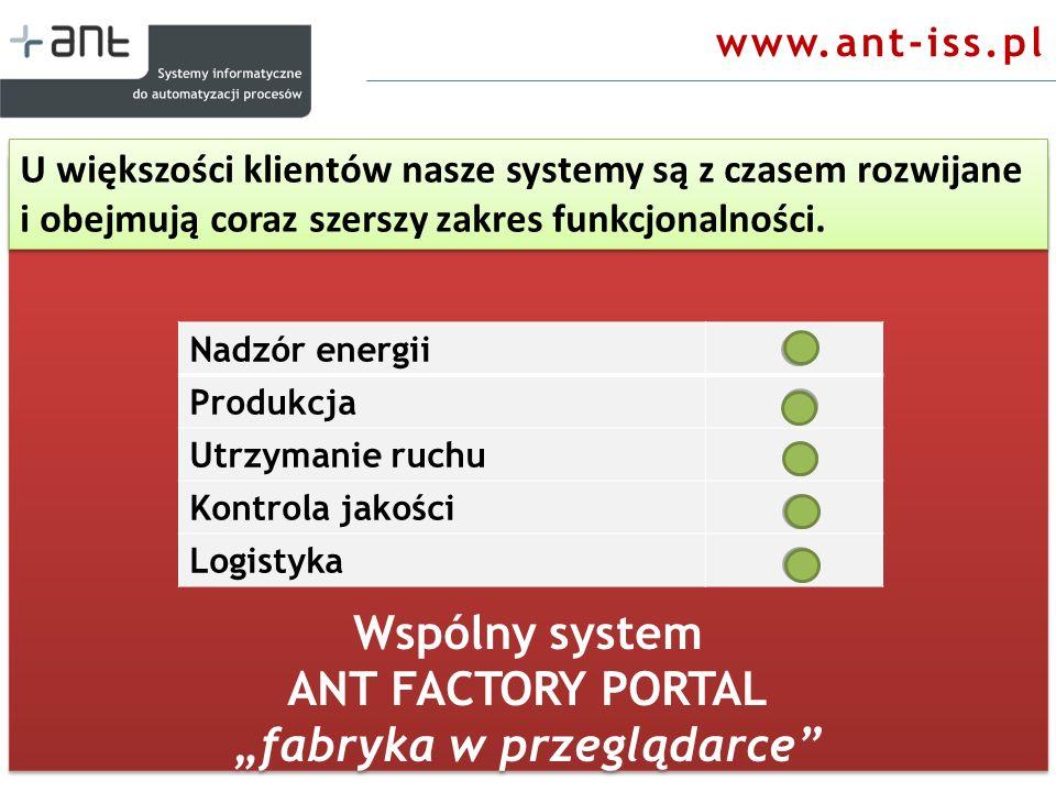 Wspólny system ANT FACTORY PORTAL fabryka w przeglądarce Wspólny system ANT FACTORY PORTAL fabryka w przeglądarce www.ant-iss.pl U większości klientów