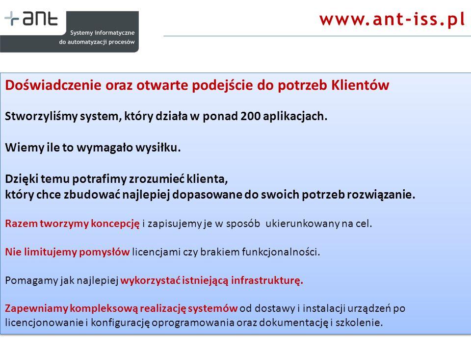 www.ant-iss.pl Doświadczenie oraz otwarte podejście do potrzeb Klientów Stworzyliśmy system, który działa w ponad 200 aplikacjach. Wiemy ile to wymaga