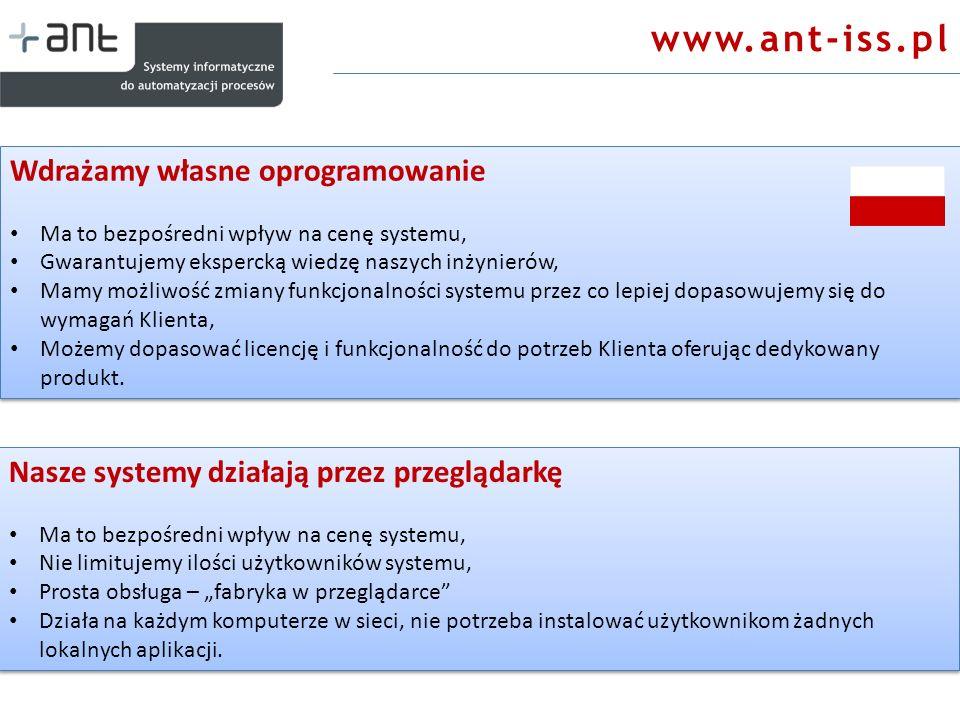 www.ant-iss.pl Wdrażamy własne oprogramowanie Ma to bezpośredni wpływ na cenę systemu, Gwarantujemy ekspercką wiedzę naszych inżynierów, Mamy możliwoś