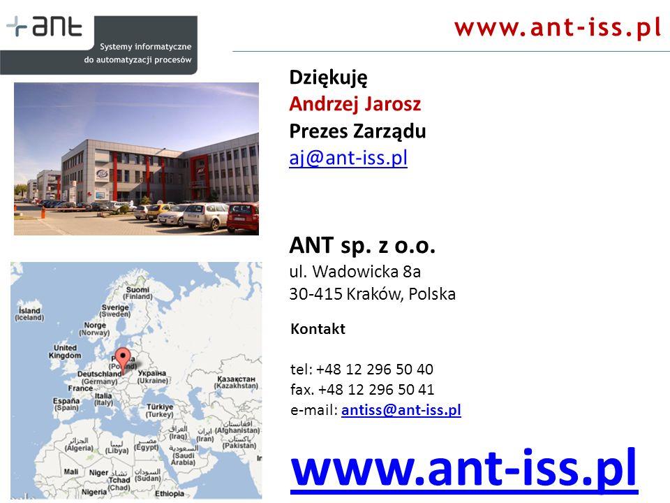 ANT sp. z o.o. ul. Wadowicka 8a 30-415 Kraków, Polska Kontakt tel: +48 12 296 50 40 fax. +48 12 296 50 41 e-mail: antiss@ant-iss.plantiss@ant-iss.pl w