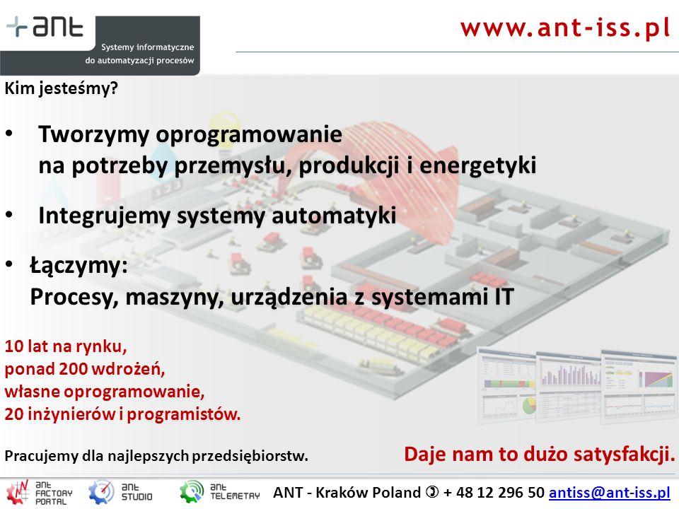 ANT - Kraków Poland + 48 12 296 50 antiss@ant-iss.plantiss@ant-iss.pl Kim jesteśmy? Tworzymy oprogramowanie na potrzeby przemysłu, produkcji i energet