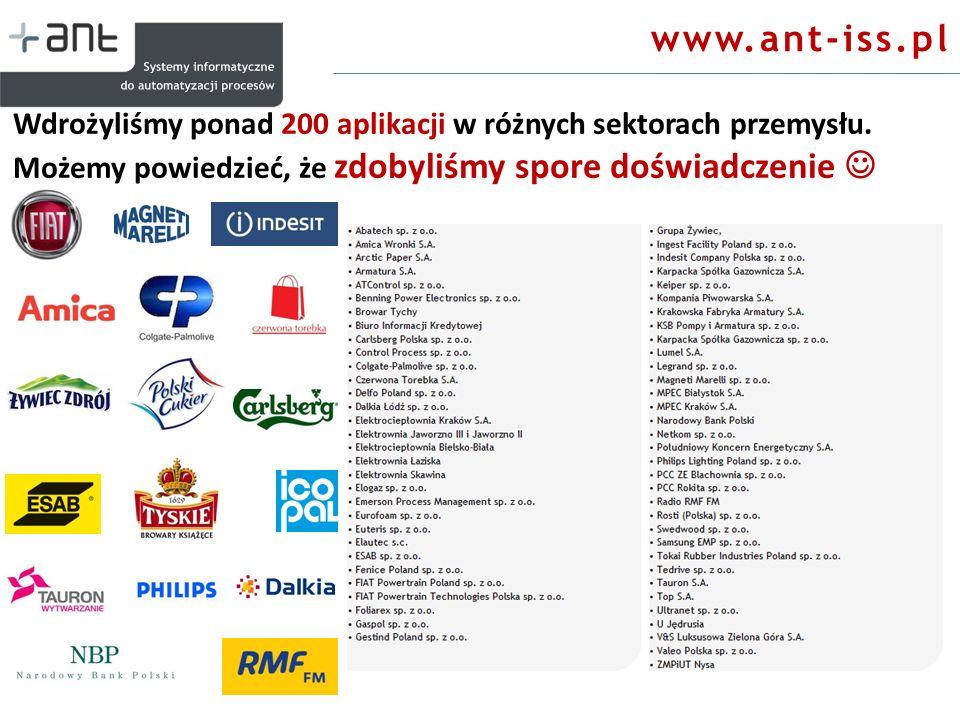 Wdrożyliśmy ponad 200 aplikacji w różnych sektorach przemysłu. Możemy powiedzieć, że zdobyliśmy spore doświadczenie www.ant-iss.pl
