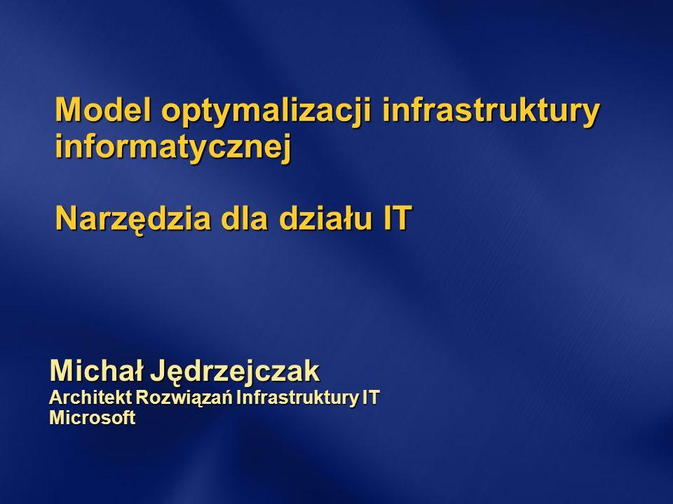 Model optymalizacji infrastruktury informatycznej Narzędzia dla działu IT Michał Jędrzejczak Architekt Rozwiązań Infrastruktury IT Microsoft
