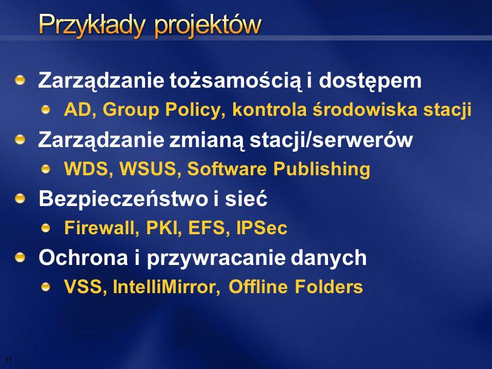 Zarządzanie tożsamością i dostępem AD, Group Policy, kontrola środowiska stacji Zarządzanie zmianą stacji/serwerów WDS, WSUS, Software Publishing Bezp