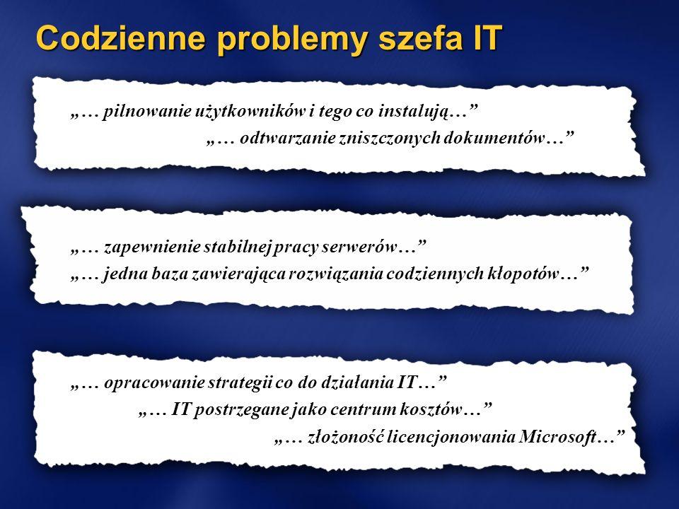 Codzienne problemy szefa IT … pilnowanie użytkowników i tego co instalują… … odtwarzanie zniszczonych dokumentów… … zapewnienie stabilnej pracy serwer