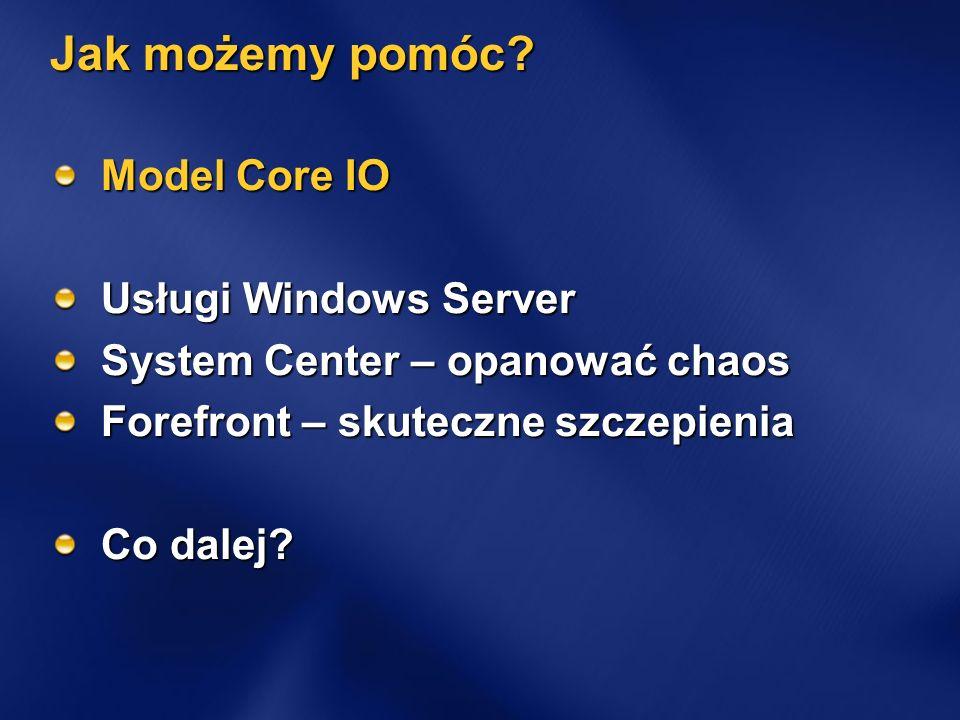 Jak możemy pomóc? Model Core IO Usługi Windows Server System Center – opanować chaos Forefront – skuteczne szczepienia Co dalej?