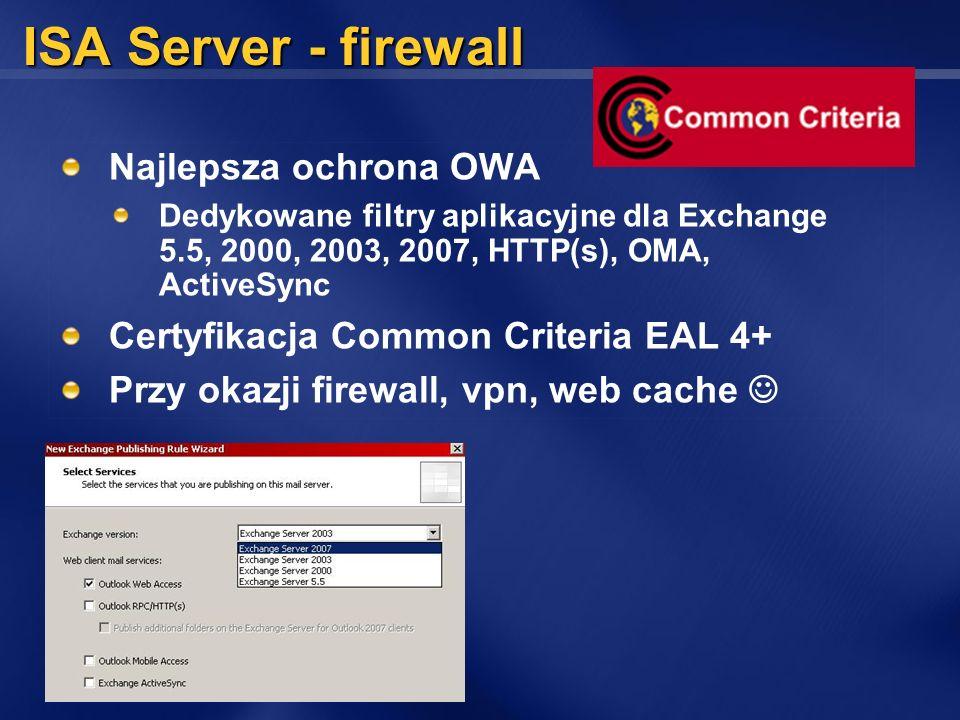ISA Server - firewall Najlepsza ochrona OWA Dedykowane filtry aplikacyjne dla Exchange 5.5, 2000, 2003, 2007, HTTP(s), OMA, ActiveSync Certyfikacja Co