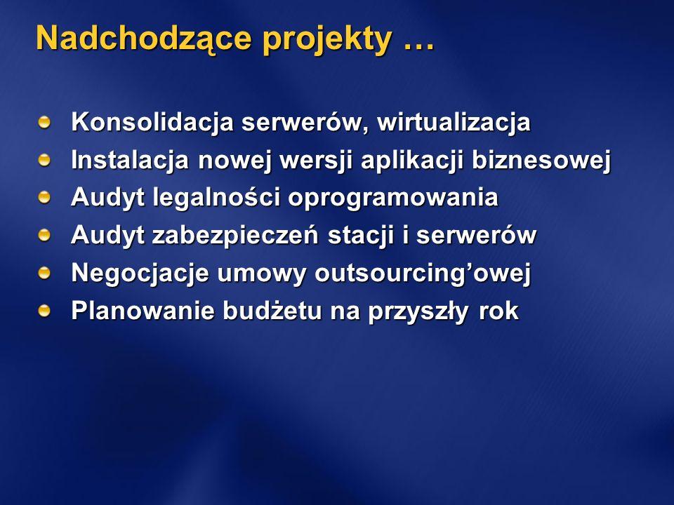 Nadchodzące projekty … Konsolidacja serwerów, wirtualizacja Instalacja nowej wersji aplikacji biznesowej Audyt legalności oprogramowania Audyt zabezpi
