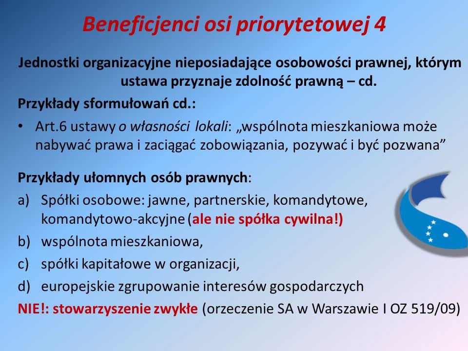 Beneficjenci osi priorytetowej 4 Jednostki organizacyjne nieposiadające osobowości prawnej, którym ustawa przyznaje zdolność prawną – cd.