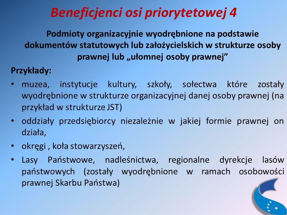 Beneficjenci osi priorytetowej 4 Podmioty organizacyjnie wyodrębnione na podstawie dokumentów statutowych lub założycielskich w strukturze osoby prawnej lub ułomnej osoby prawnej Przykłady: muzea, instytucje kultury, szkoły, sołectwa które zostały wyodrębnione w strukturze organizacyjnej danej osoby prawnej (na przykład w strukturze JST) oddziały przedsiębiorcy niezależnie w jakiej formie prawnej on działa, okręgi, koła stowarzyszeń, Lasy Państwowe, nadleśnictwa, regionalne dyrekcje lasów państwowych (zostały wyodrębnione w ramach osobowości prawnej Skarbu Państwa)