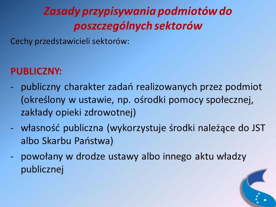 Zasady przypisywania podmiotów do poszczególnych sektorów Cechy przedstawicieli sektorów: PUBLICZNY: -publiczny charakter zadań realizowanych przez podmiot (określony w ustawie, np.