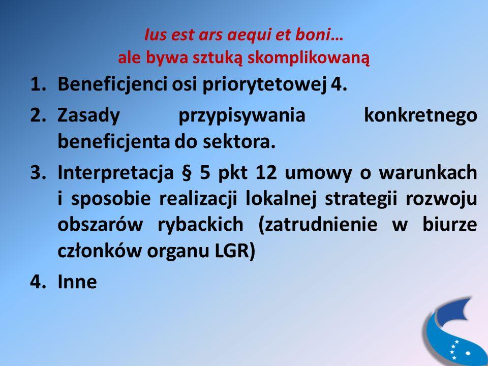 Ius est ars aequi et boni… ale bywa sztuką skomplikowaną 1.Beneficjenci osi priorytetowej 4.