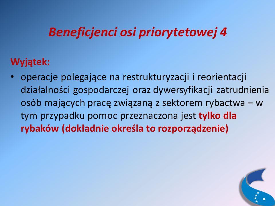 Beneficjenci osi priorytetowej 4 Wyjątek: operacje polegające na restrukturyzacji i reorientacji działalności gospodarczej oraz dywersyfikacji zatrudnienia osób mających pracę związaną z sektorem rybactwa – w tym przypadku pomoc przeznaczona jest tylko dla rybaków (dokładnie określa to rozporządzenie)