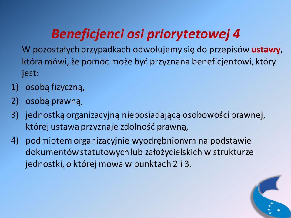 Beneficjenci osi priorytetowej 4 W pozostałych przypadkach odwołujemy się do przepisów ustawy, która mówi, że pomoc może być przyznana beneficjentowi, który jest: 1)osobą fizyczną, 2)osobą prawną, 3)jednostką organizacyjną nieposiadającą osobowości prawnej, której ustawa przyznaje zdolność prawną, 4)podmiotem organizacyjnie wyodrębnionym na podstawie dokumentów statutowych lub założycielskich w strukturze jednostki, o której mowa w punktach 2 i 3.