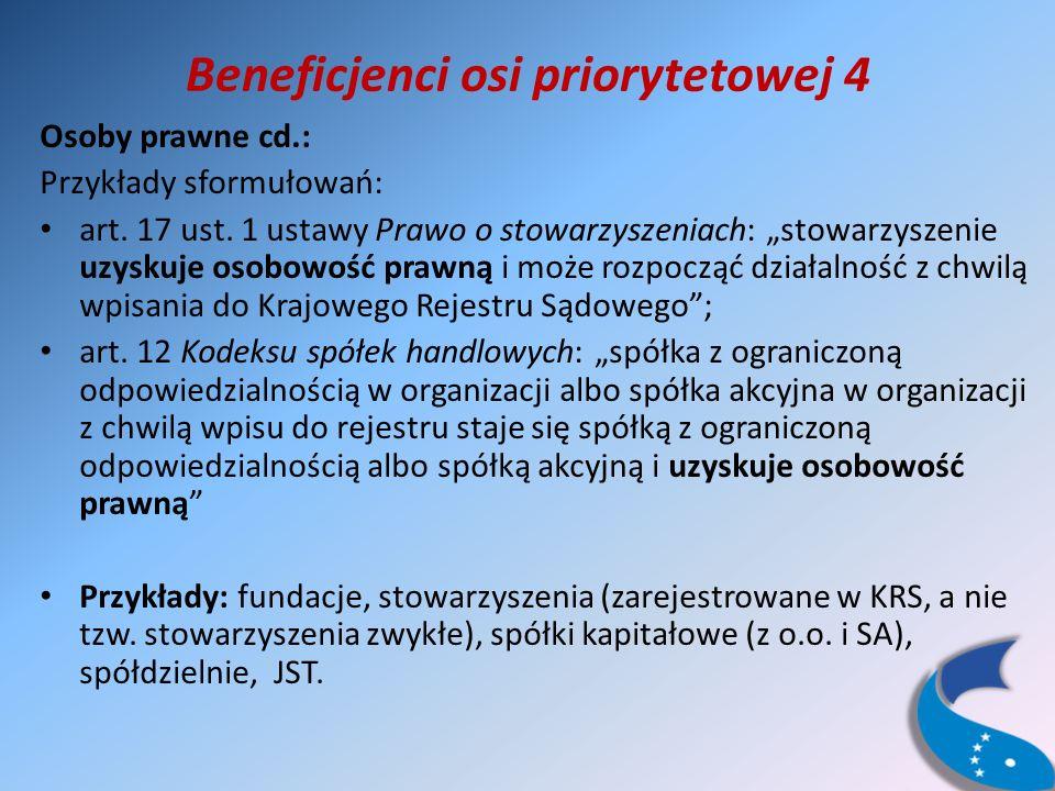 Beneficjenci osi priorytetowej 4 Osoby prawne cd.: Przykłady sformułowań: art.