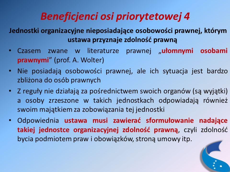 Beneficjenci osi priorytetowej 4 Jednostki organizacyjne nieposiadające osobowości prawnej, którym ustawa przyznaje zdolność prawną Czasem zwane w literaturze prawnej ułomnymi osobami prawnymi (prof.