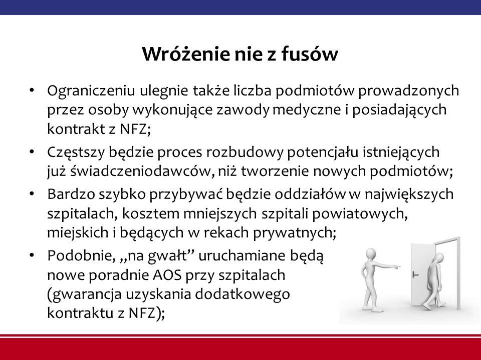 Wróżenie nie z fusów Ograniczeniu ulegnie także liczba podmiotów prowadzonych przez osoby wykonujące zawody medyczne i posiadających kontrakt z NFZ; C