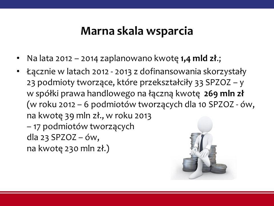 Marna skala wsparcia Na lata 2012 – 2014 zaplanowano kwotę 1,4 mld zł.; Łącznie w latach 2012 - 2013 z dofinansowania skorzystały 23 podmioty tworzące
