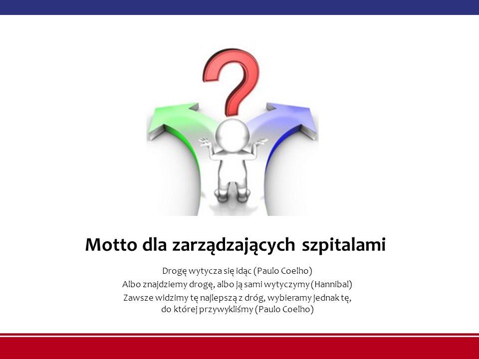 Motto dla zarządzających szpitalami Drogę wytycza się idąc (Paulo Coelho) Albo znajdziemy drogę, albo ją sami wytyczymy (Hannibal) Zawsze widzimy tę n