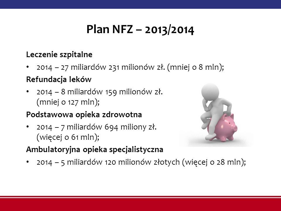 Plan NFZ – 2013/2014 Leczenie szpitalne 2014 – 27 miliardów 231 milionów zł. (mniej o 8 mln); Refundacja leków 2014 – 8 miliardów 159 milionów zł. (mn