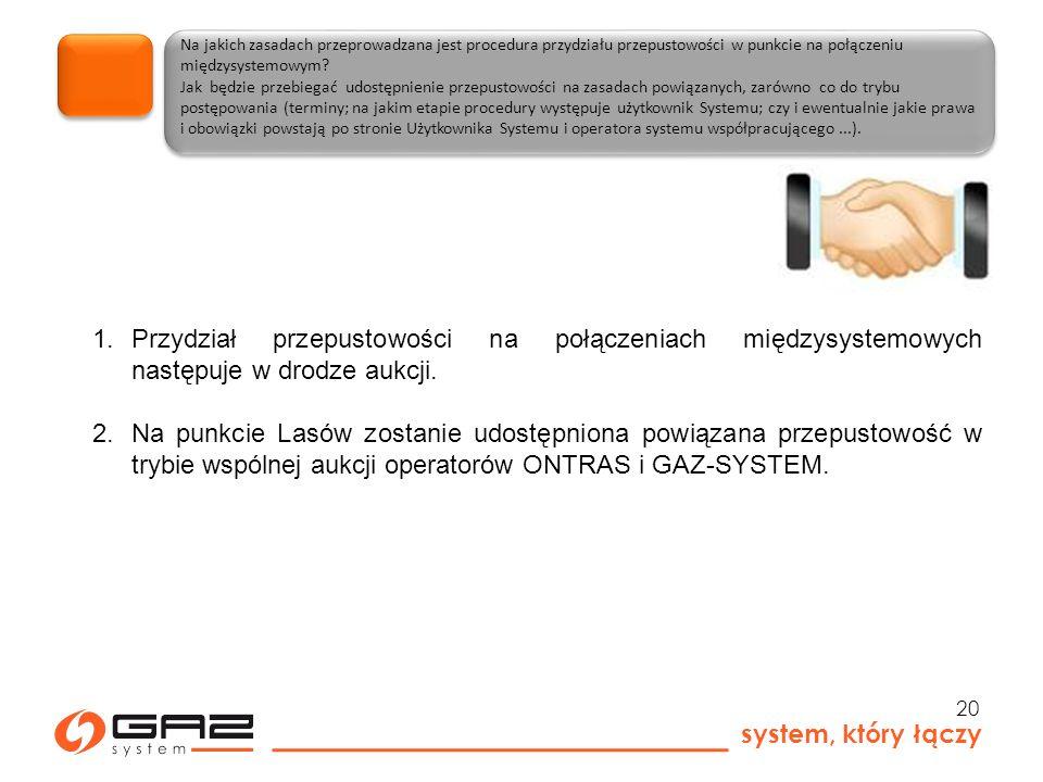 system, który łączy 20 Na jakich zasadach przeprowadzana jest procedura przydziału przepustowości w punkcie na połączeniu międzysystemowym.