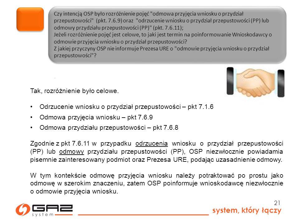 system, który łączy 21 Czy intencją OSP było rozróżnienie pojęć odmowa przyjęcia wniosku o przydział przepustowości (pkt.