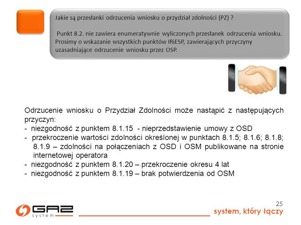 system, który łączy 25 Jakie są przesłanki odrzucenia wniosku o przydział zdolności (PZ) .