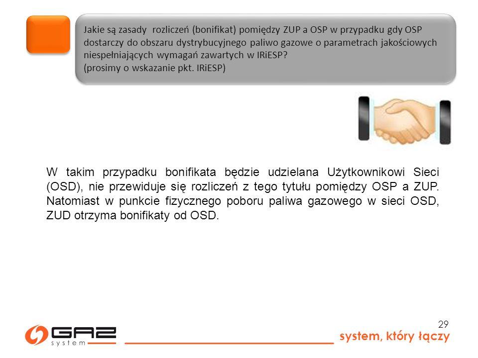 system, który łączy 29 Jakie są zasady rozliczeń (bonifikat) pomiędzy ZUP a OSP w przypadku gdy OSP dostarczy do obszaru dystrybucyjnego paliwo gazowe o parametrach jakościowych niespełniających wymagań zawartych w IRiESP.