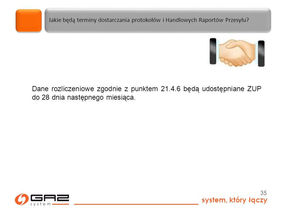 system, który łączy 35 Jakie będą terminy dostarczania protokołów i Handlowych Raportów Przesyłu.