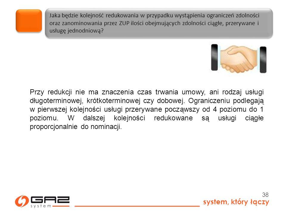 system, który łączy 38 Jaka będzie kolejność redukowania w przypadku wystąpienia ograniczeń zdolności oraz zanominowania przez ZUP ilości obejmujących zdolności ciągłe, przerywane i usługę jednodniową.
