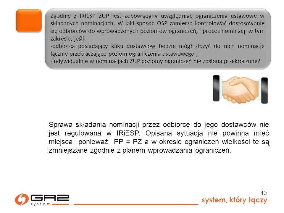 system, który łączy 40 Zgodnie z IRIESP ZUP jest zobowiązany uwzględniać ograniczenia ustawowe w składanych nominacjach.