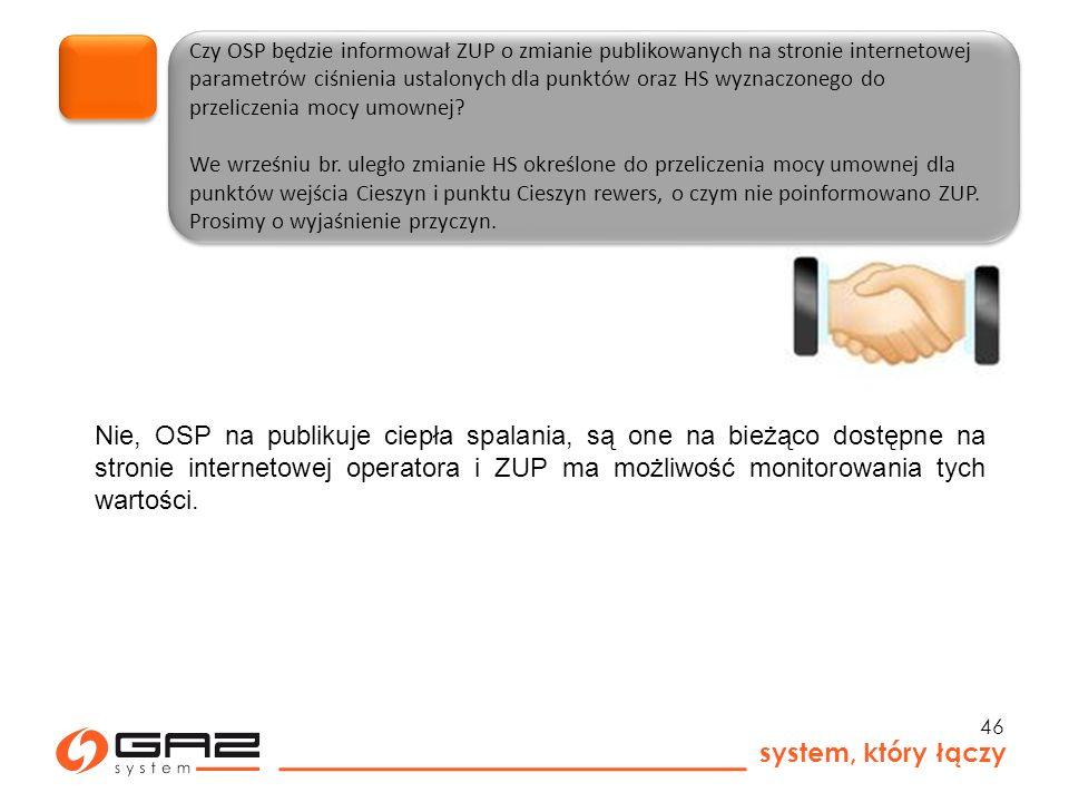 system, który łączy 46 Czy OSP będzie informował ZUP o zmianie publikowanych na stronie internetowej parametrów ciśnienia ustalonych dla punktów oraz HS wyznaczonego do przeliczenia mocy umownej.