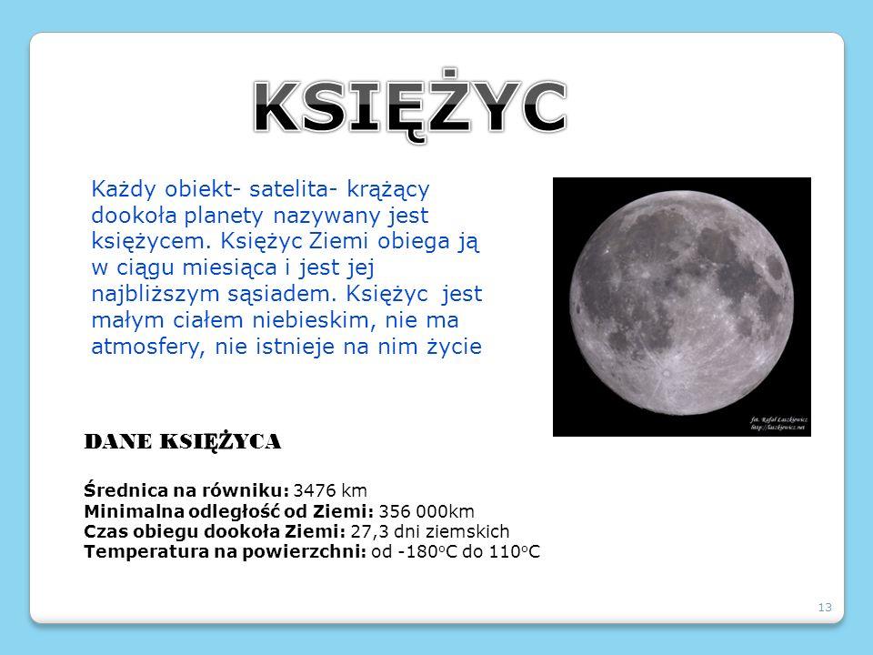 13 Każdy obiekt- satelita- krążący dookoła planety nazywany jest księżycem. Księżyc Ziemi obiega ją w ciągu miesiąca i jest jej najbliższym sąsiadem.
